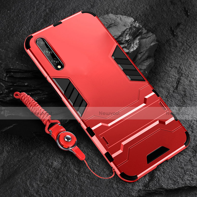 Silicone Matte Finish and Plastic Back Cover Case with Stand for Huawei Enjoy 10S