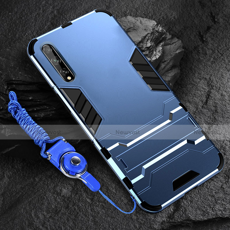 Silicone Matte Finish and Plastic Back Cover Case with Stand for Huawei Enjoy 10S Blue