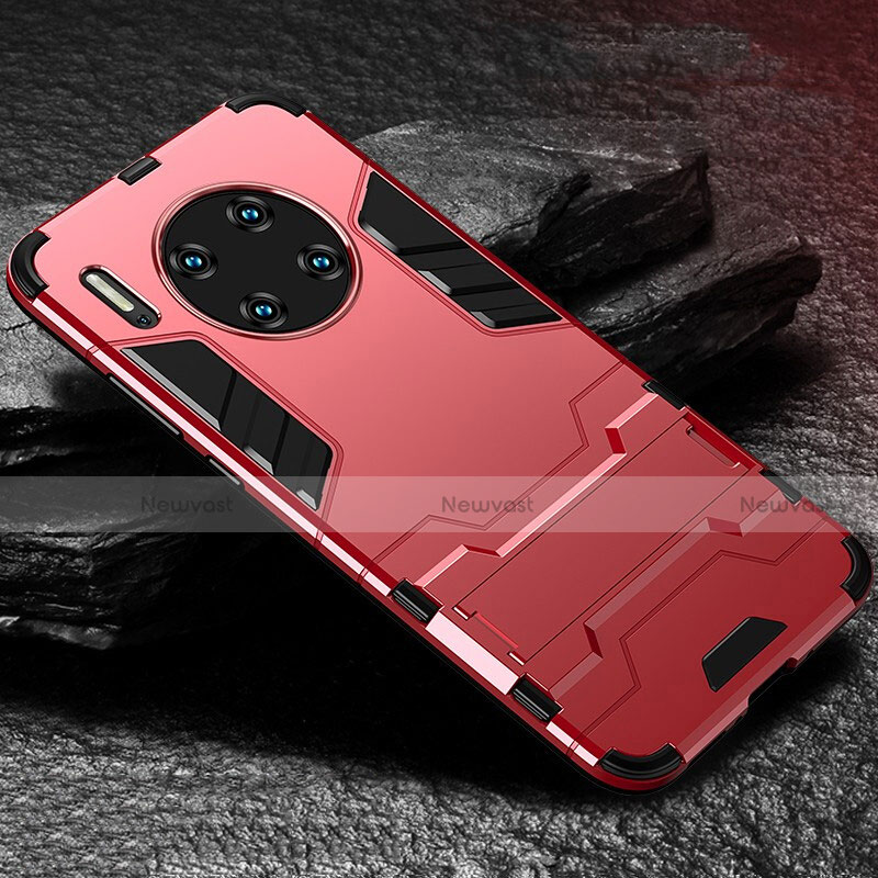Silicone Matte Finish and Plastic Back Cover Case with Stand for Huawei Mate 30 Pro 5G Red