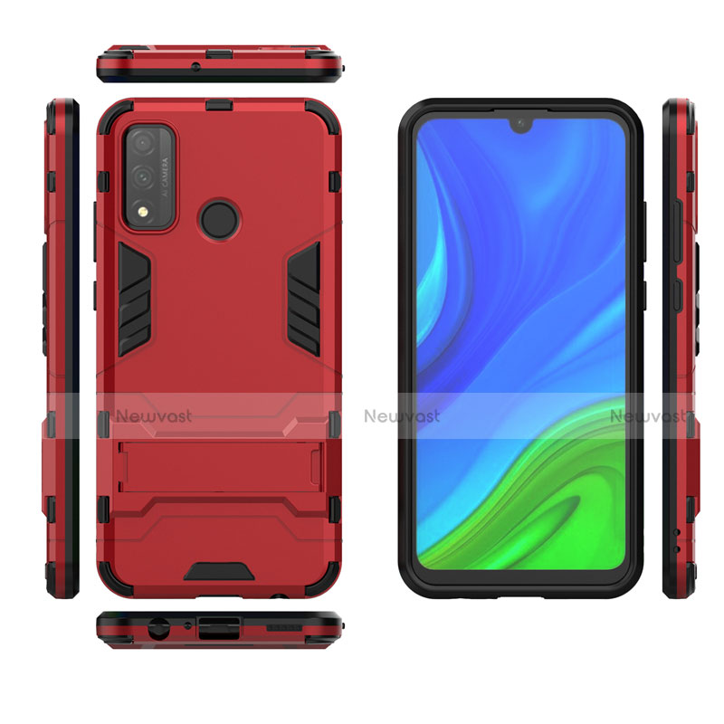 Silicone Matte Finish and Plastic Back Cover Case with Stand for Huawei P Smart (2020)