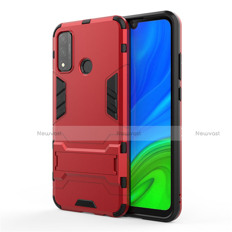 Silicone Matte Finish and Plastic Back Cover Case with Stand for Huawei P Smart (2020) Red