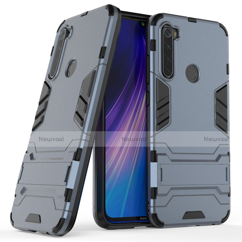 Silicone Matte Finish and Plastic Back Cover Case with Stand for Xiaomi Redmi Note 8