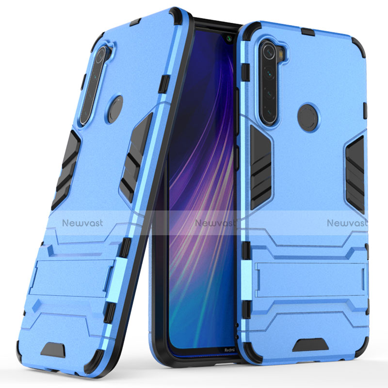 Silicone Matte Finish and Plastic Back Cover Case with Stand for Xiaomi Redmi Note 8 Blue