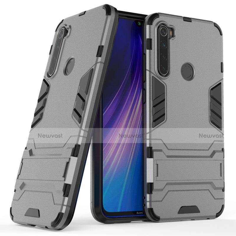 Silicone Matte Finish and Plastic Back Cover Case with Stand for Xiaomi Redmi Note 8 Gray