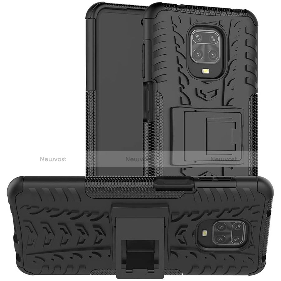 Silicone Matte Finish and Plastic Back Cover Case with Stand for Xiaomi Redmi Note 9 Pro