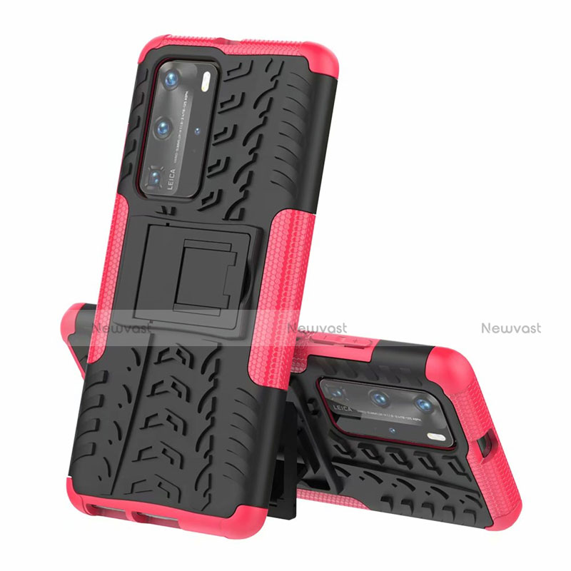 Silicone Matte Finish and Plastic Back Cover Case with Stand R01 for Huawei P40 Pro
