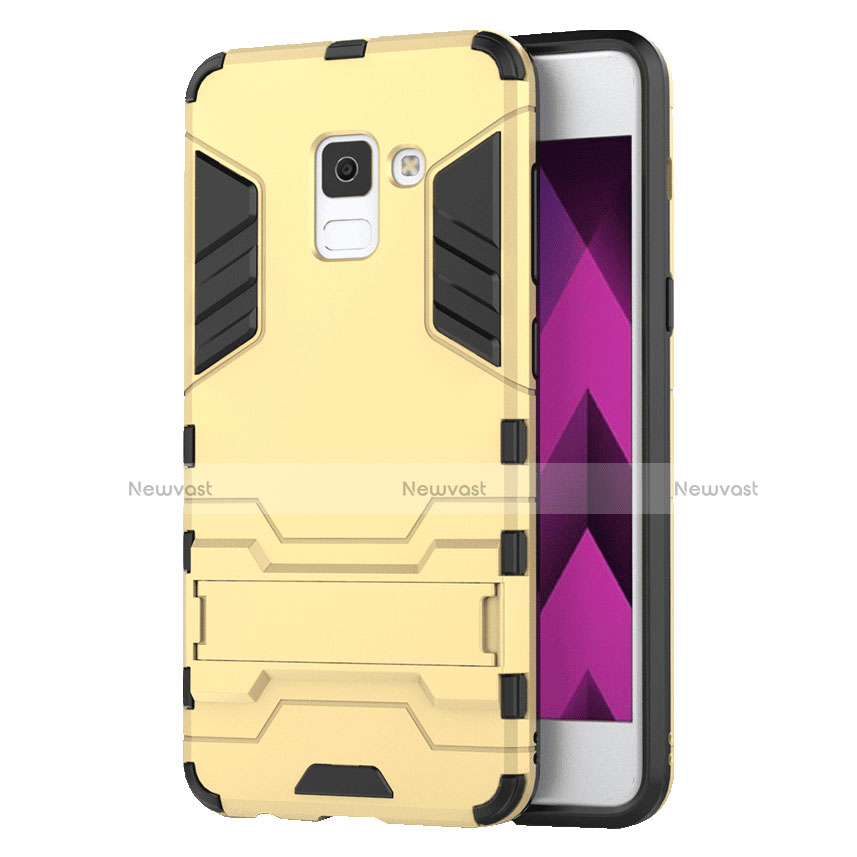 Silicone Matte Finish and Plastic Back Cover with Stand for Samsung Galaxy A5 (2018) A530F Gold