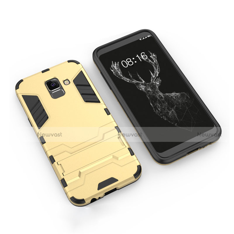 Silicone Matte Finish and Plastic Back Cover with Stand for Samsung Galaxy A6 (2018) Dual SIM Gold