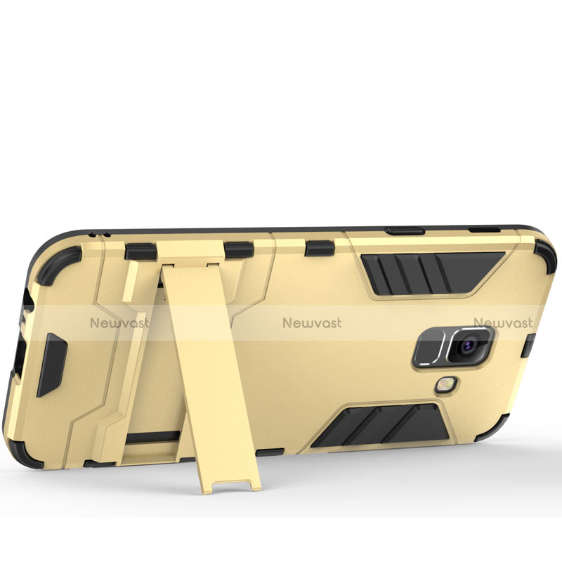 Silicone Matte Finish and Plastic Back Cover with Stand for Samsung Galaxy A6 (2018) Gold