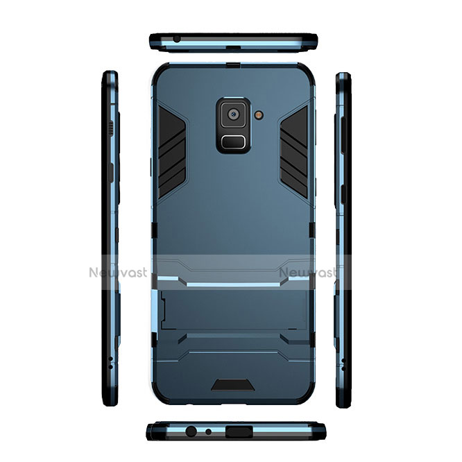 Silicone Matte Finish and Plastic Back Cover with Stand for Samsung Galaxy A8 (2018) Duos A530F Cyan