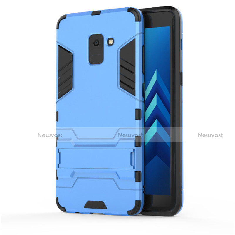 Silicone Matte Finish and Plastic Back Cover with Stand for Samsung Galaxy A8+ A8 Plus (2018) A730F Blue