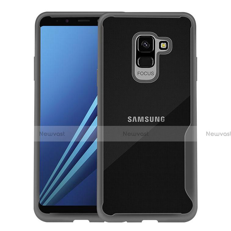 Silicone Transparent Frame Case for Samsung Galaxy A8+ A8 Plus (2018) A730F Black