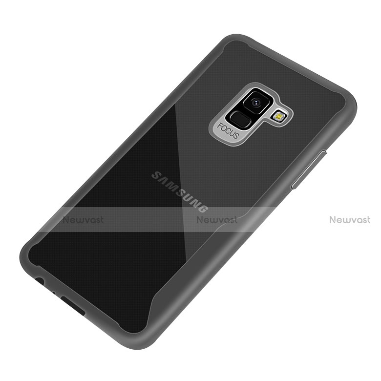 Silicone Transparent Frame Case for Samsung Galaxy A8+ A8 Plus (2018) A730F Black