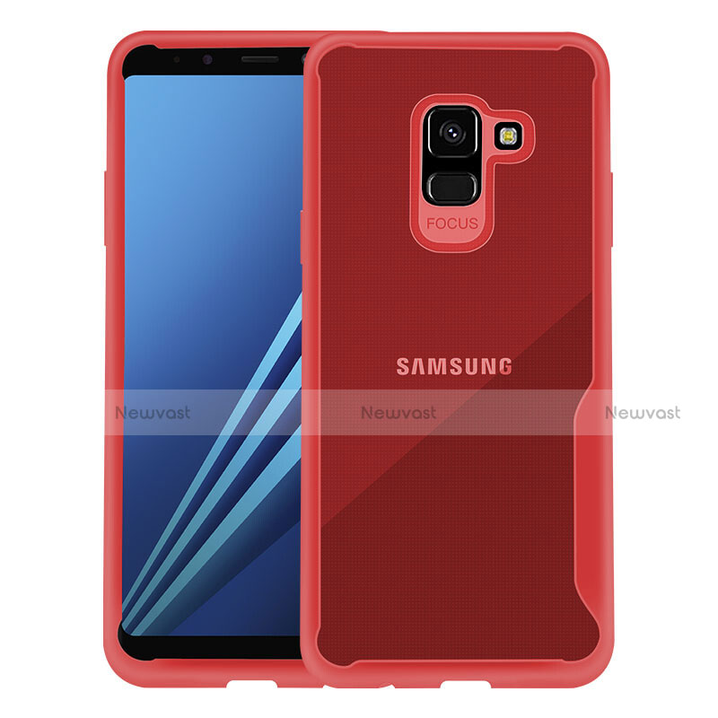 Silicone Transparent Frame Cover for Samsung Galaxy A8+ A8 Plus (2018) A730F Red