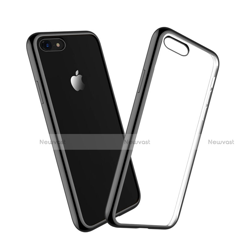 Silicone Transparent Matte Finish Frame Case for Apple iPhone SE (2020) Black