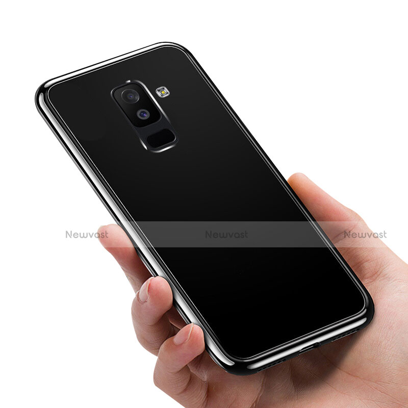 Silicone Transparent Mirror Frame Case 360 Degrees for Samsung Galaxy A6 Plus Black