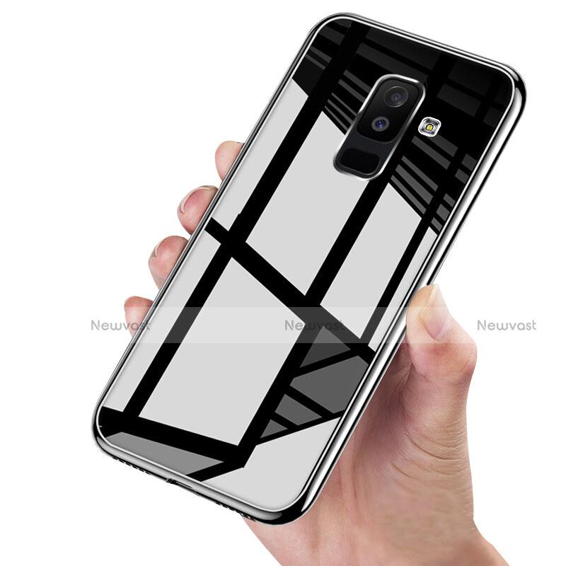 Silicone Transparent Mirror Frame Case 360 Degrees for Samsung Galaxy A9 Star Lite Black