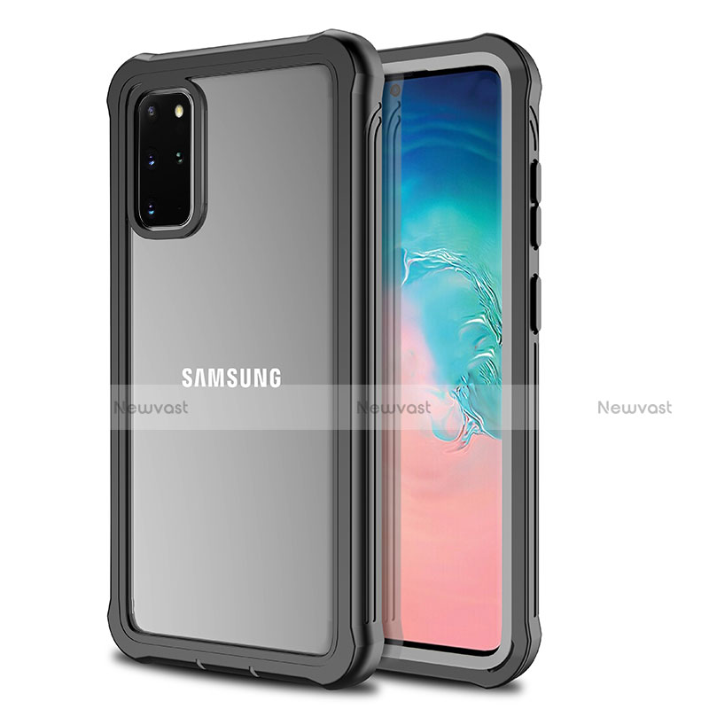 Silicone Transparent Mirror Frame Case 360 Degrees for Samsung Galaxy S20 Plus 5G Black