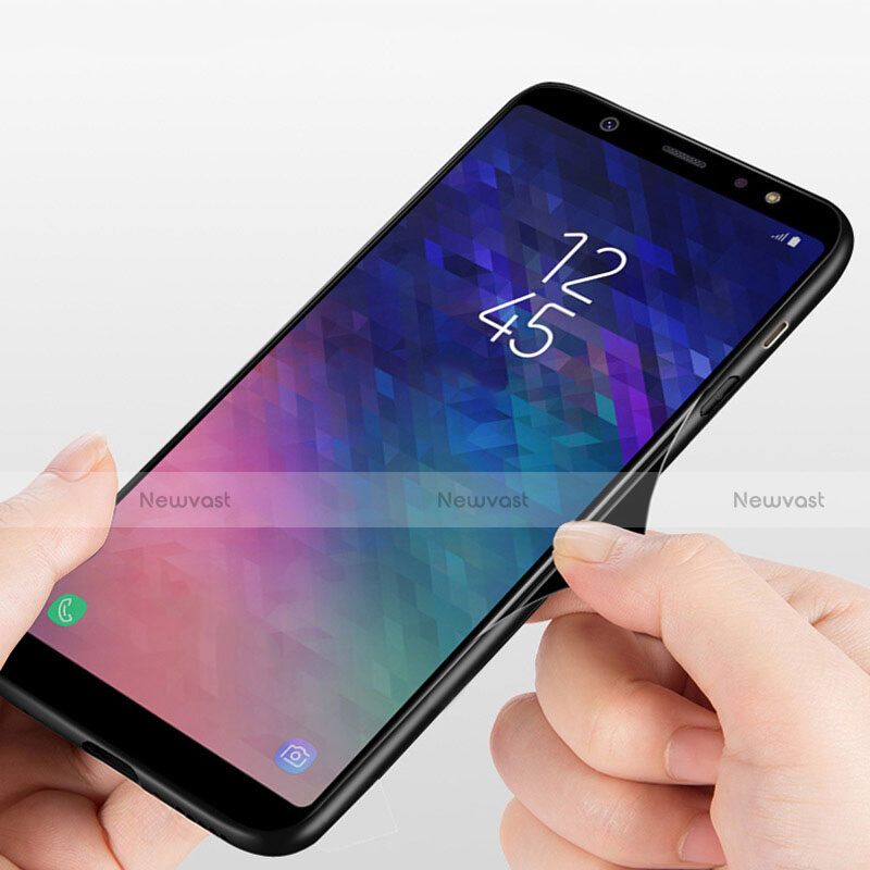 Silicone Transparent Mirror Frame Case 360 Degrees T03 for Samsung Galaxy A6 Plus Black
