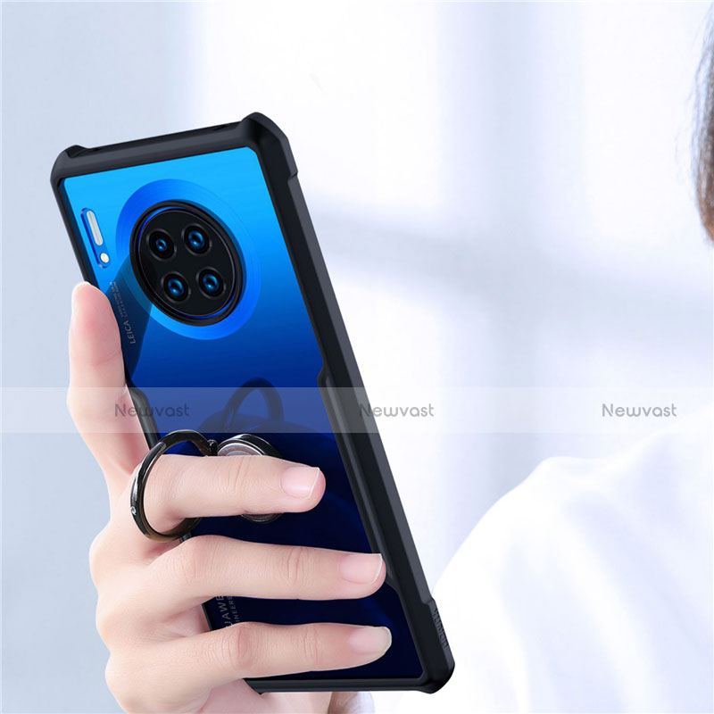 Silicone Transparent Mirror Frame Case 360 Degrees with Magnetic Finger Ring Stand for Huawei Mate 30 Pro 5G