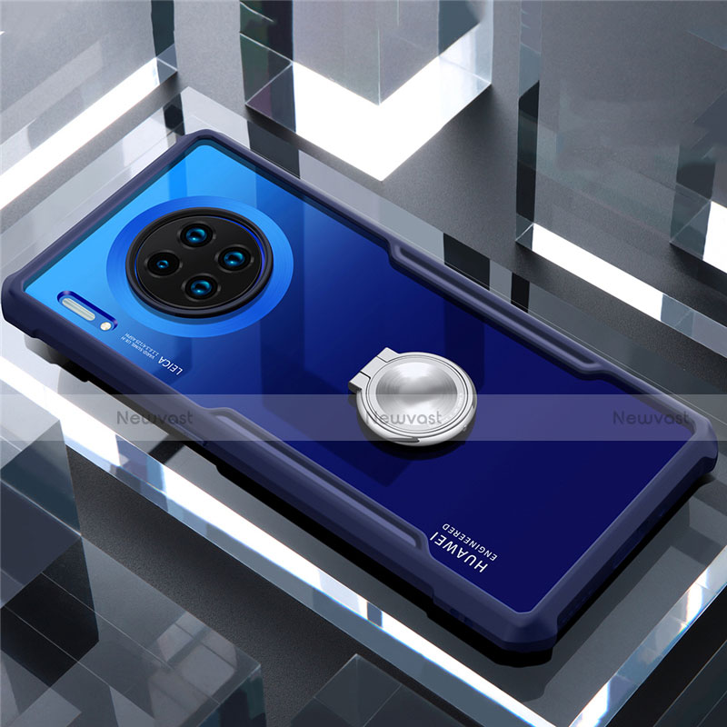 Silicone Transparent Mirror Frame Case 360 Degrees with Magnetic Finger Ring Stand for Huawei Mate 30 Pro 5G Blue