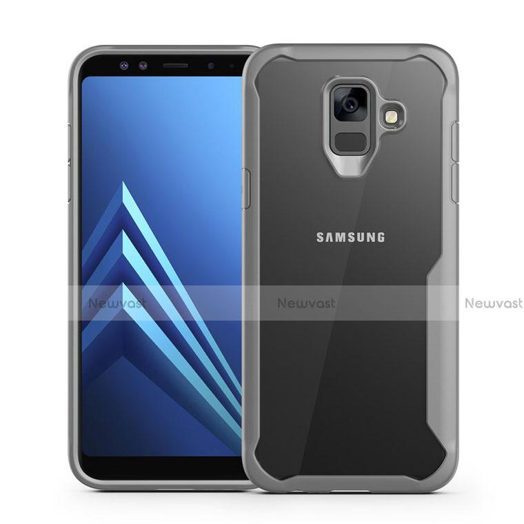 Silicone Transparent Mirror Frame Case Cover for Samsung Galaxy A6 (2018) Dual SIM Gray