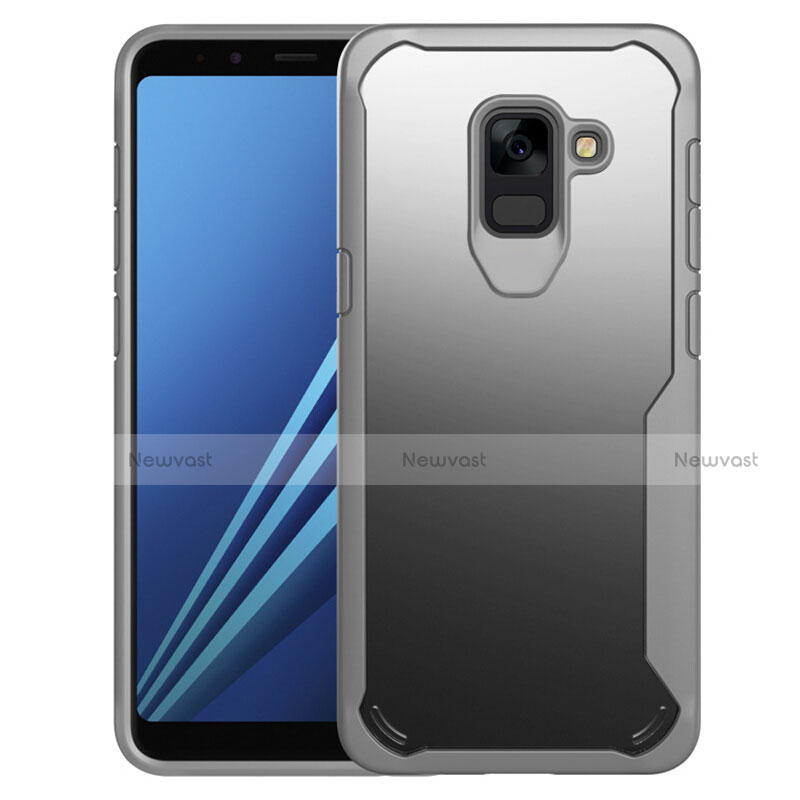 Silicone Transparent Mirror Frame Case Cover for Samsung Galaxy A8+ A8 Plus (2018) A730F Gray