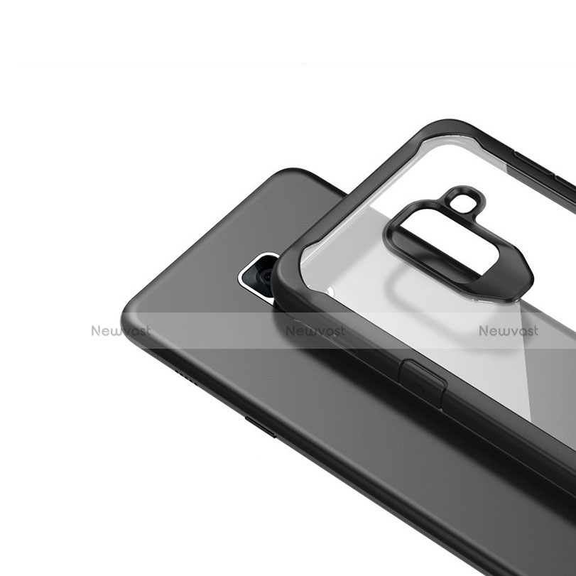 Silicone Transparent Mirror Frame Case Cover for Samsung Galaxy A8+ A8 Plus (2018) Duos A730F