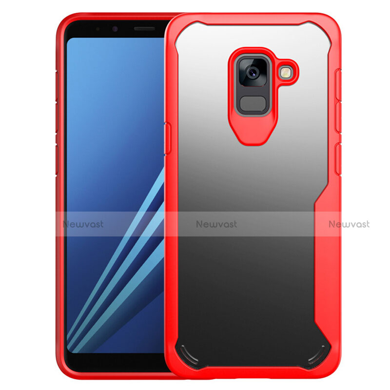 Silicone Transparent Mirror Frame Case Cover for Samsung Galaxy A8+ A8 Plus (2018) Duos A730F Red