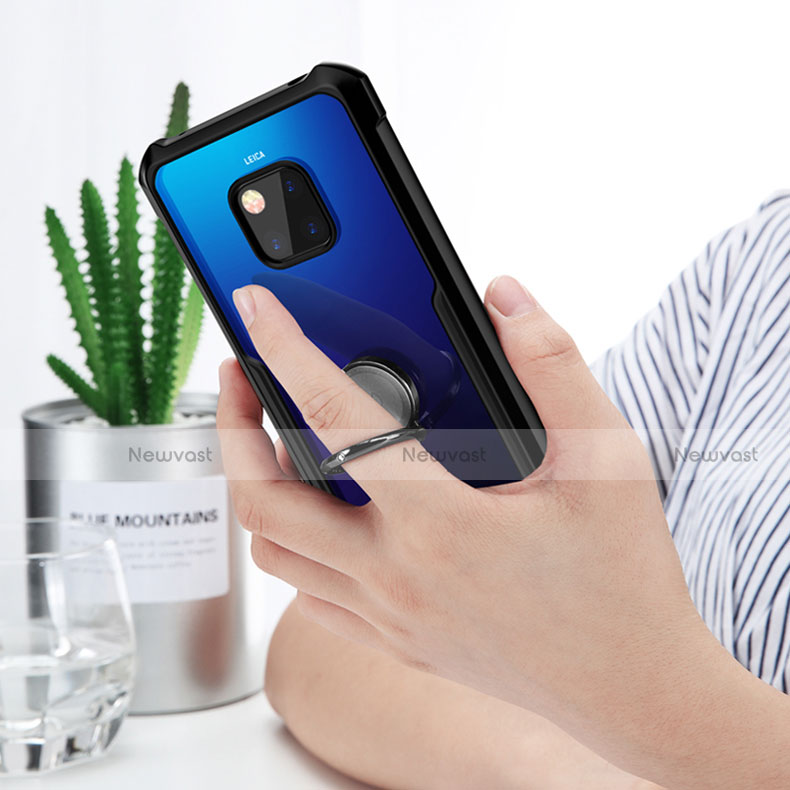 Silicone Transparent Mirror Frame Case for Huawei Mate 20 Pro Black