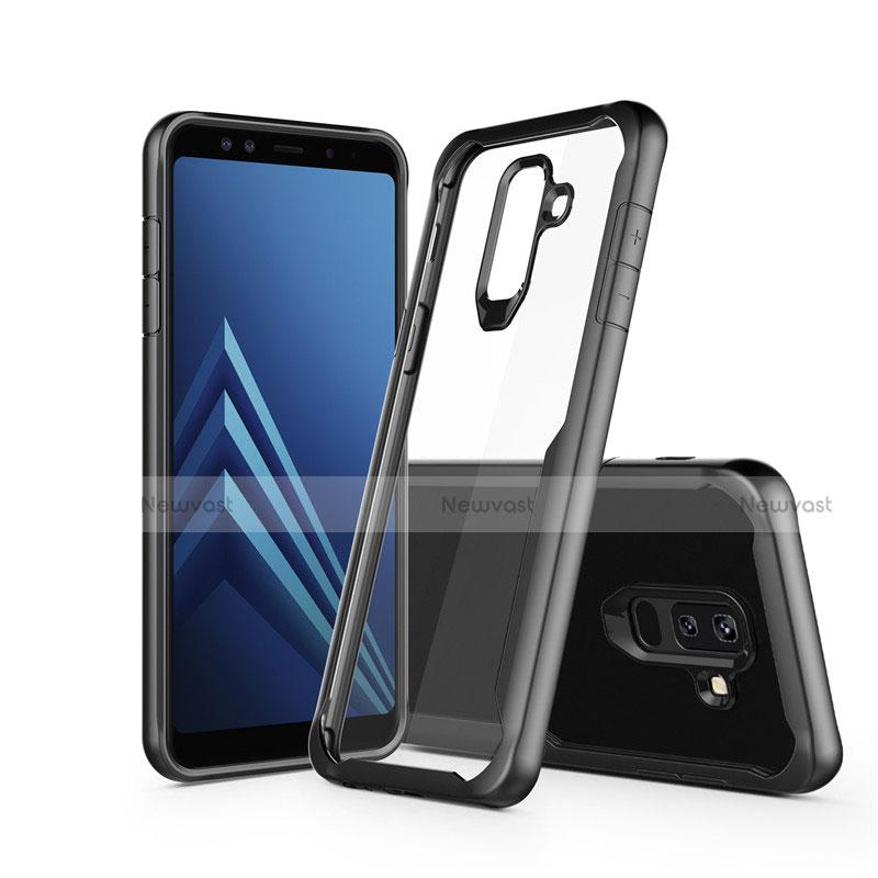 Silicone Transparent Mirror Frame Case for Samsung Galaxy A6 Plus Black