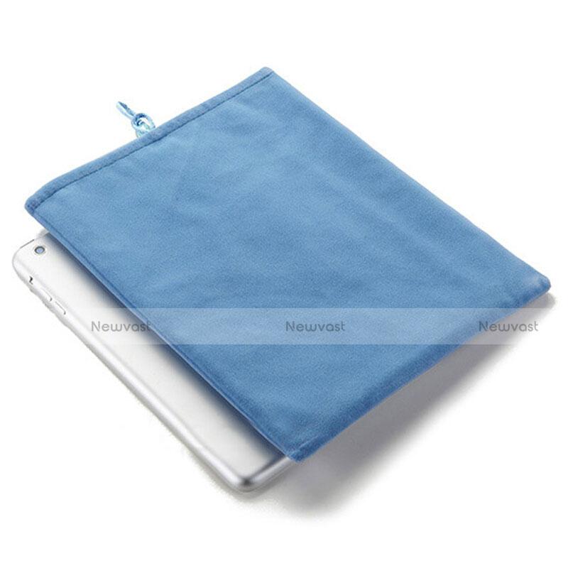 Sleeve Velvet Bag Case Pocket for Apple iPad 2 Sky Blue