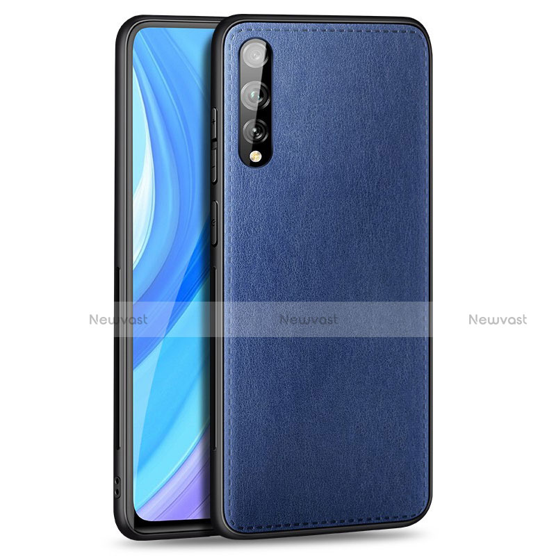 Soft Luxury Leather Snap On Case Cover for Huawei Enjoy 10S Blue