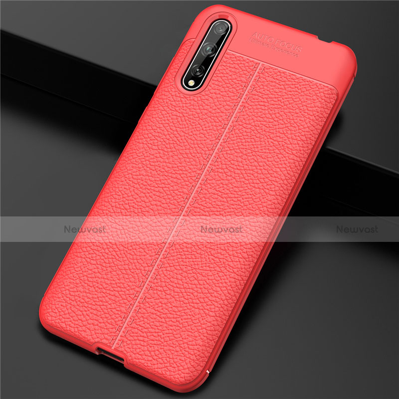 Soft Luxury Leather Snap On Case Cover S01 for Huawei Enjoy 10S Red