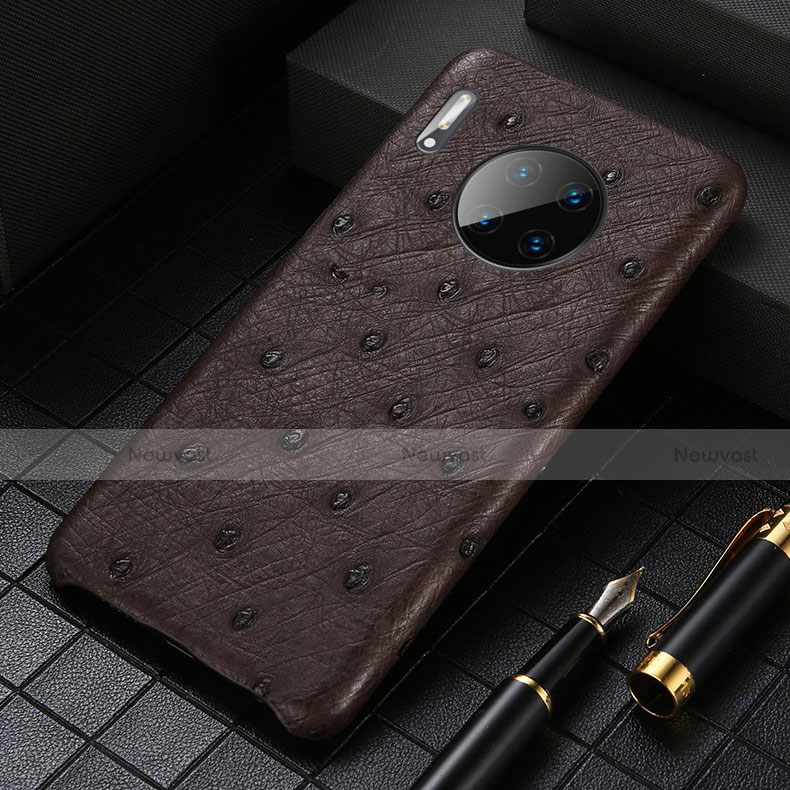 Soft Luxury Leather Snap On Case Cover S01 for Huawei Mate 30 Pro 5G Brown