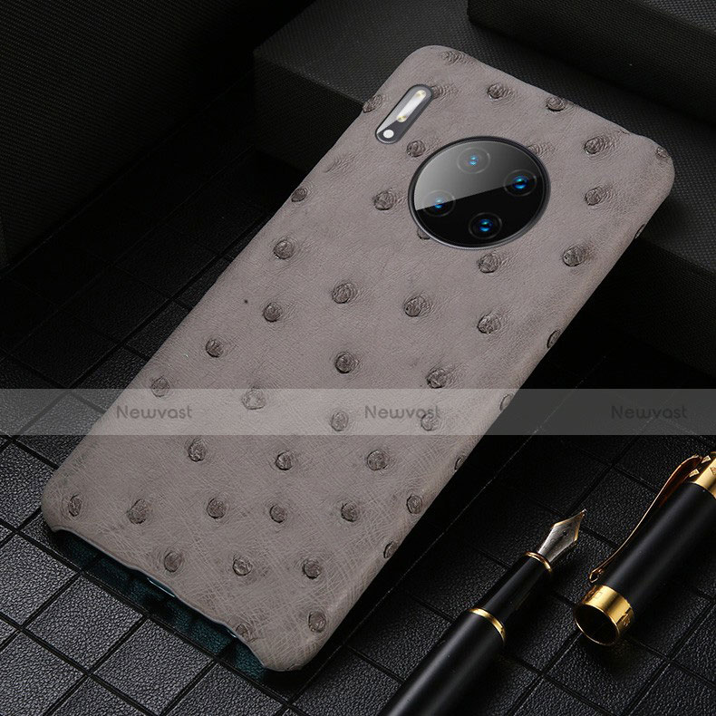 Soft Luxury Leather Snap On Case Cover S01 for Huawei Mate 30 Pro 5G Gray
