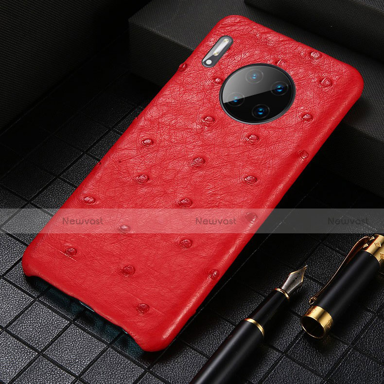 Soft Luxury Leather Snap On Case Cover S01 for Huawei Mate 30 Pro 5G Red