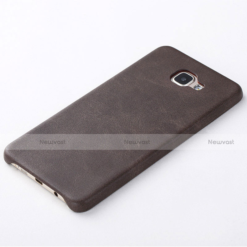 Soft Luxury Leather Snap On Case for Samsung Galaxy A8 (2016) A8100 A810F Brown