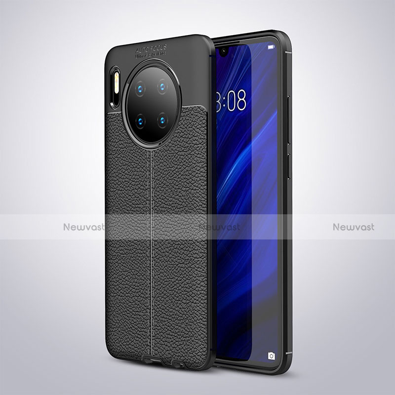 Soft Silicone Gel Leather Snap On Case Cover for Huawei Mate 30 Pro 5G Black