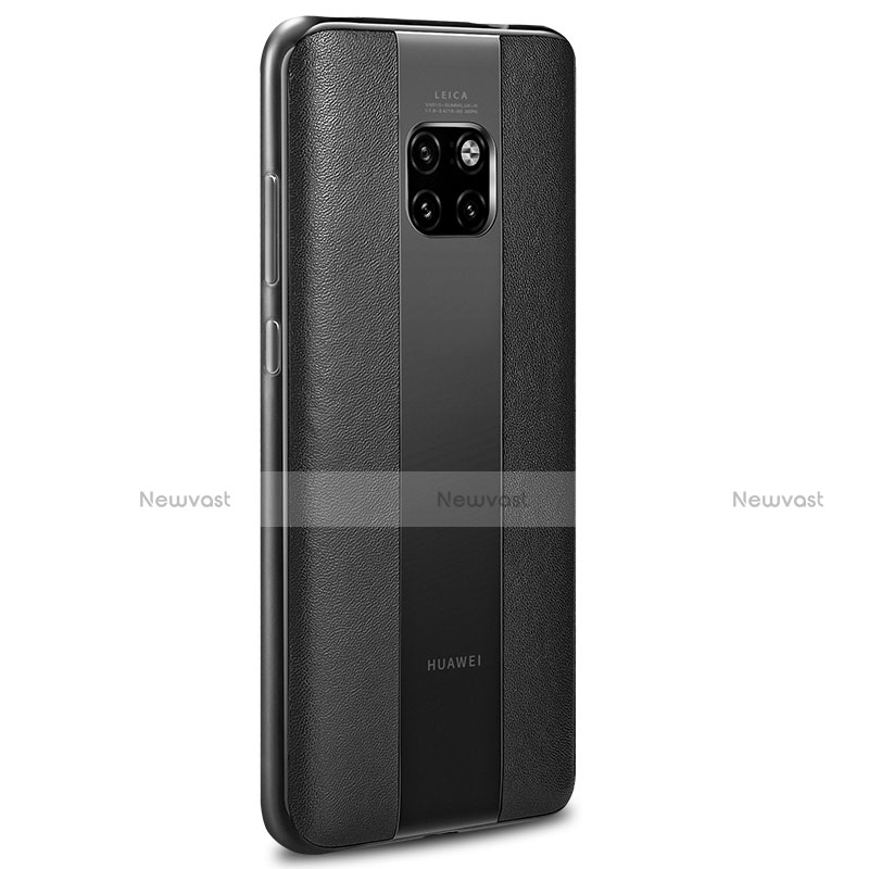 Soft Silicone Gel Leather Snap On Case Cover G01 for Huawei Mate 20 Pro Black
