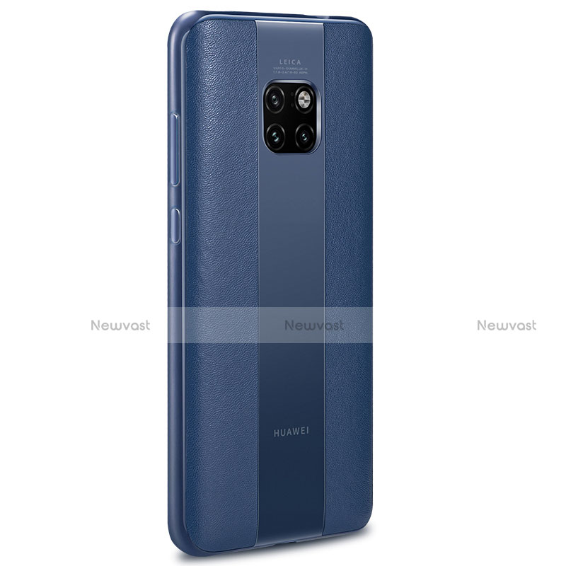 Soft Silicone Gel Leather Snap On Case Cover H01 for Huawei Mate 20 RS Blue