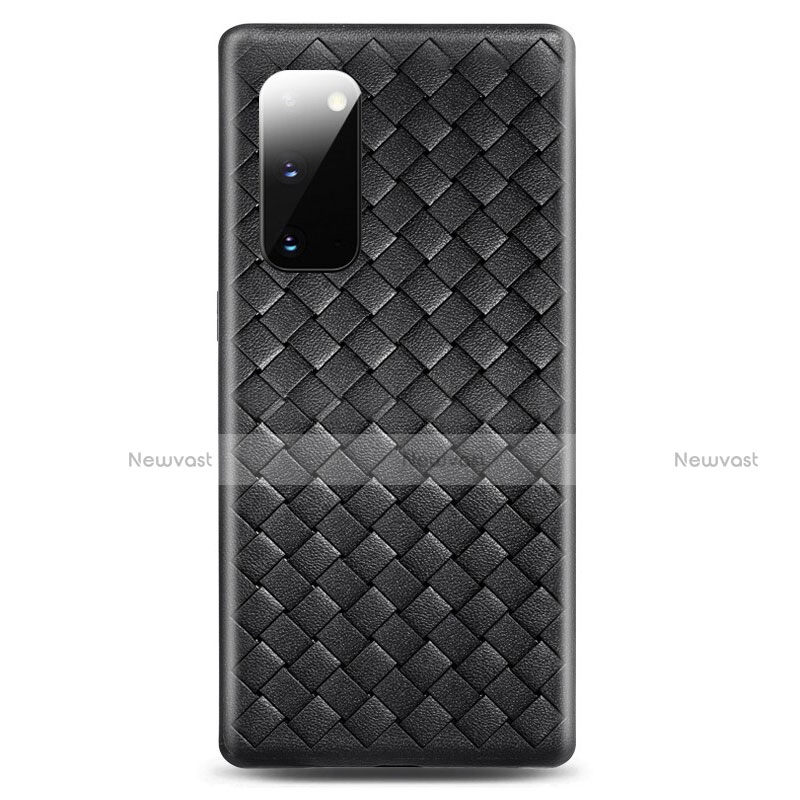 Soft Silicone Gel Leather Snap On Case Cover H03 for Samsung Galaxy S20 5G Black