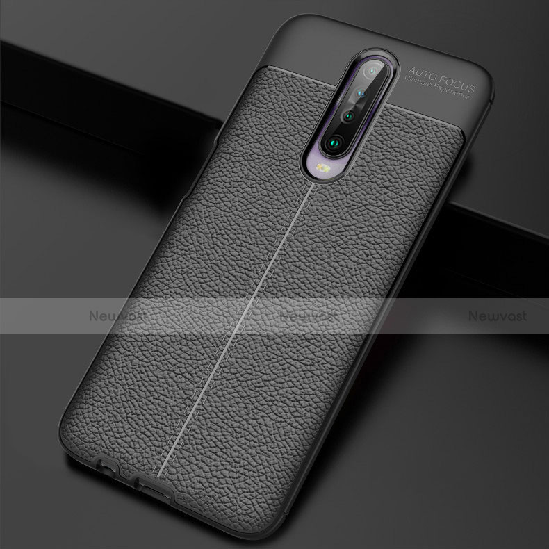 Soft Silicone Gel Leather Snap On Case Cover S04 for Xiaomi Redmi K30 5G Black