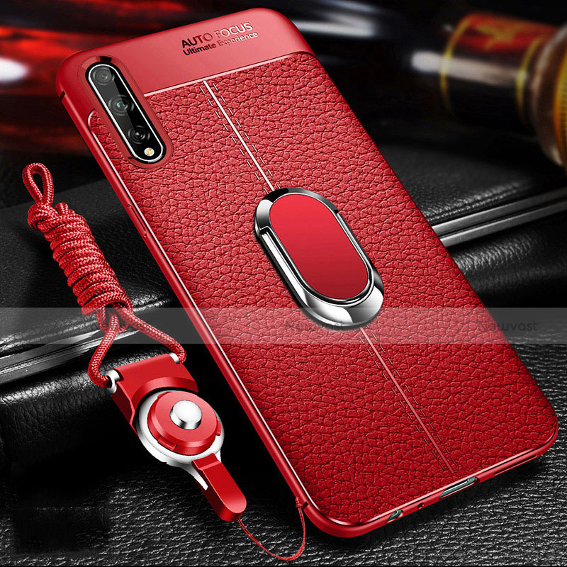 Soft Silicone Gel Leather Snap On Case Cover with Magnetic Finger Ring Stand for Huawei Enjoy 10S