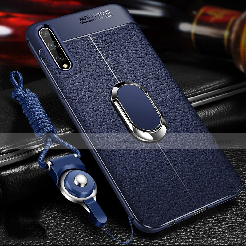 Soft Silicone Gel Leather Snap On Case Cover with Magnetic Finger Ring Stand for Huawei Enjoy 10S Blue