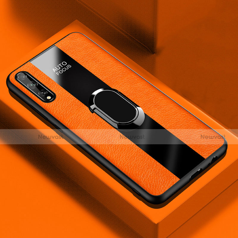 Soft Silicone Gel Leather Snap On Case Cover with Magnetic Finger Ring Stand S01 for Huawei Enjoy 10S