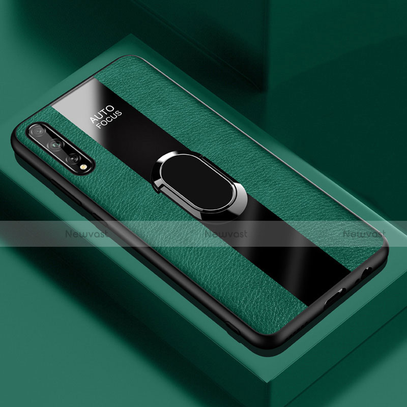 Soft Silicone Gel Leather Snap On Case Cover with Magnetic Finger Ring Stand S01 for Huawei Y8p Green