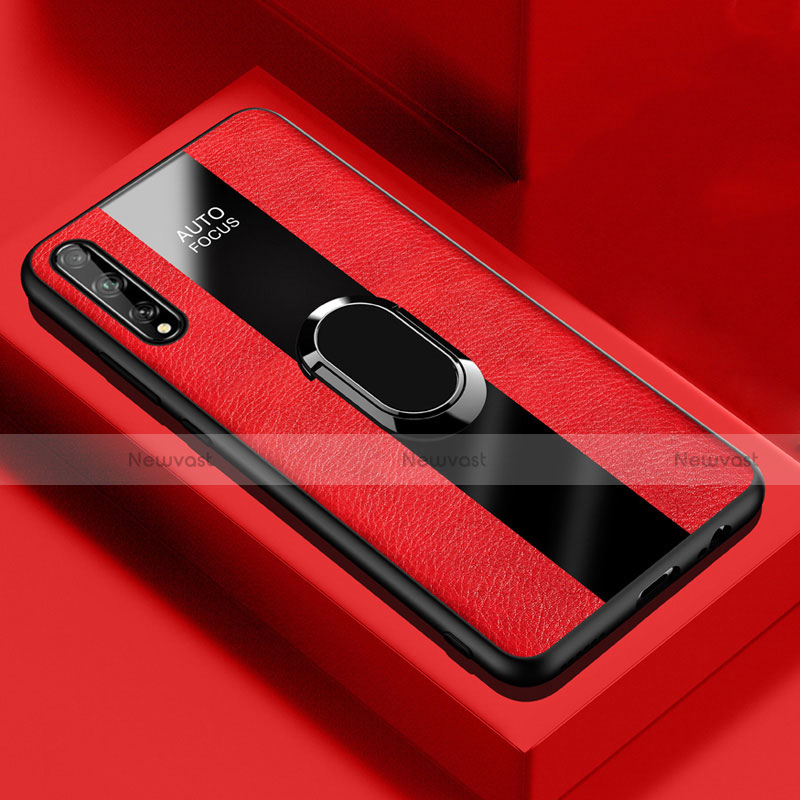 Soft Silicone Gel Leather Snap On Case Cover with Magnetic Finger Ring Stand S01 for Huawei Y8p Red