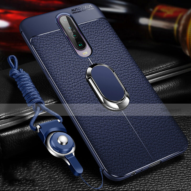 Soft Silicone Gel Leather Snap On Case Cover with Magnetic Finger Ring Stand S01 for Xiaomi Redmi K30 5G Blue