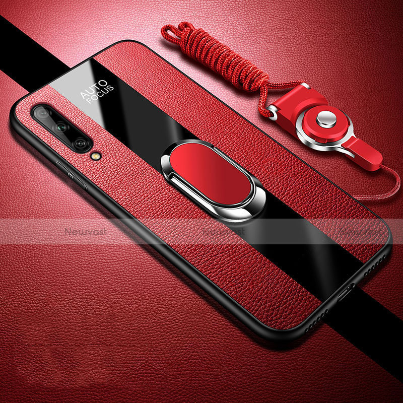 Soft Silicone Gel Leather Snap On Case Cover with Magnetic Finger Ring Stand S02 for Huawei Enjoy 10S Red